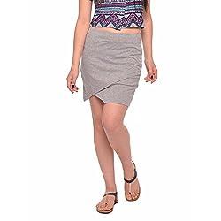 Vvoguish Corporate Wear Cotton Solids Gray Skirt-VVSK827GM-S