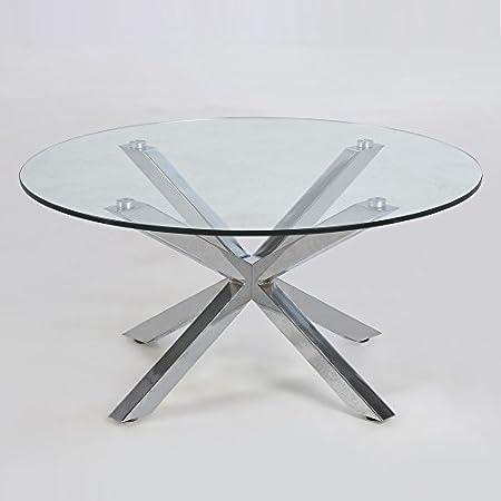 Tavolino da salotto Design STAR, vetro, cromo, 82 cm