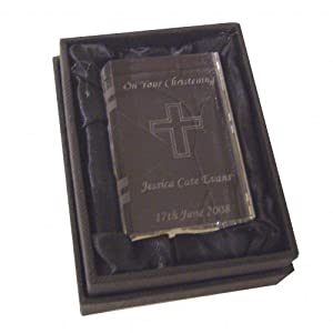 Libro de la Biblia de cristal personalizada - Figura de - diseño de frases religiosas en caja de regalo! en BebeHogar.com
