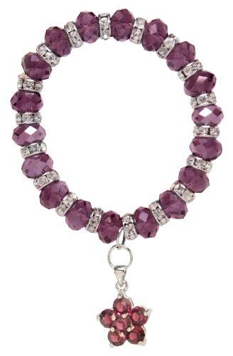 Purple Flower Crystal Bubble Bracelet