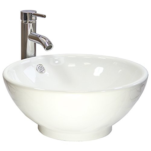 Round Bathroom Sink Modern Ceramic Countertop Washbasin Gloss Bowl White Basin - with FREE Tap and Pop-up Plug