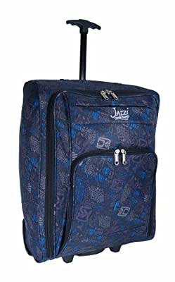Womens and Mens and Girls, Superior Quality (BLACK BLUE PATTERNED) 21inches holdall (SIZE 55 x 40 x 20cm) Wheeled Hand Cabin Flight bag 21nch, suitable for Ryanair, Easyjet, BMI, BA, Virgin (55 x 40 x 20 cm) Due to its lightweight construction and sensibl