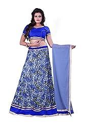 Fashion Galleria Women's blue digital printed party wear lehenga