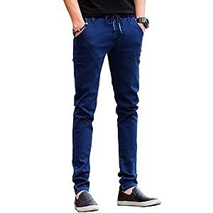 (ゆうや)YoYeah ゆったり ストレッチ バックジップ デニム ジョガーパンツ Blue36