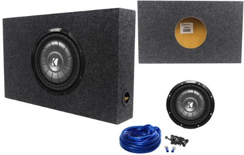 "Package: Kicker 10Cvt10-2 Ohm 800 Watt Shallow Mount Car Subwoofer + Rockville Rsm10 Single 10"" Shallow Mount 1.1 Cu. Ft. Mdf Sealed Subwoofer Enclosure + Single Enclosure Wire Kit With 14 Gauge Speaker Wire + Screws + Spade Terminals"