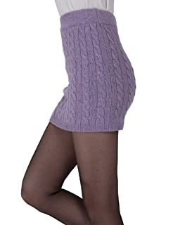 Doublju Kink Cable Knit Micro Mini Skirt LIGHTPURPLE (US-M)