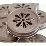 Pewter Daisy Cut Lids for Mason Jars, 12 Count