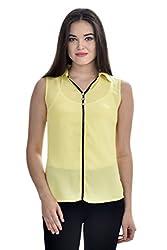 Femninora Yellow Color Casual Collar Top