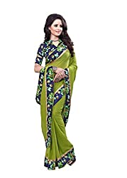 Fashion205 Women Faux Georgette Saree (OCO-AR8-1063_Green_Green_Free Size)