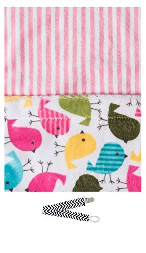 "Baby Laundry 91306 Soft Minky Baby Birds & Pink Stripes Baby Blanket 36""x30"" with Pacifier Clip - 1"
