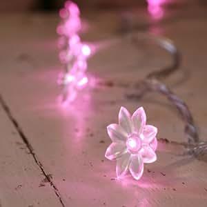30er LED Lichterkette pink Sonnenblumen