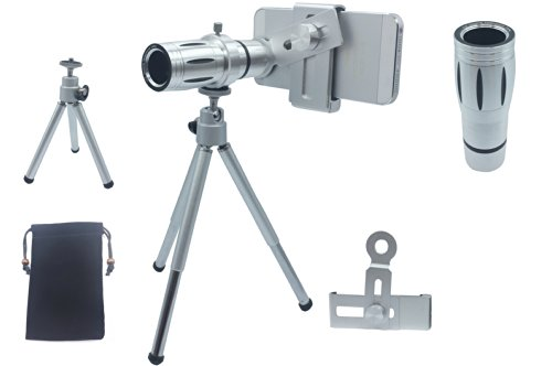 Lesung®12X Magnifier Zoom Aluminum Universal Manual Focus Telephoto Telesocpe Phone Camera Lens Kit With Tripod For Iphone 4 4S 5 5S 5C Itouch Samsung Galaxy S3/I9300/S4/I9500/S5/Note 1/2/3(A)