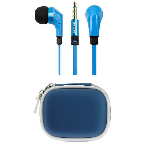 iKross Blue / Black In-Ear 3.5mm Noise-Isolation Stereo Earphones With Handsfree Microphone Headset + Blue Headset Carrying Pouch Case for ZTE Force, Aspect, Avid 4G, Flash, Groove, Z431, Cellphone Smartphone Tablet and more