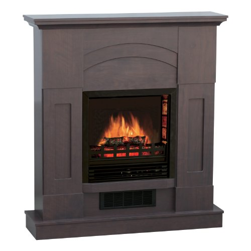 Quality Craft Mm995P-36Adw Electric Fireplace Heater With 750-1500-Watt Adjustable Temperature Control And 36-Inch Mantel, Dark Walnut Color