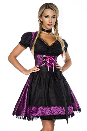 Dirndl Camicetta abiti tradizionale-Costume da Oktoberfest, Grembiule Monaco Viola/nero M