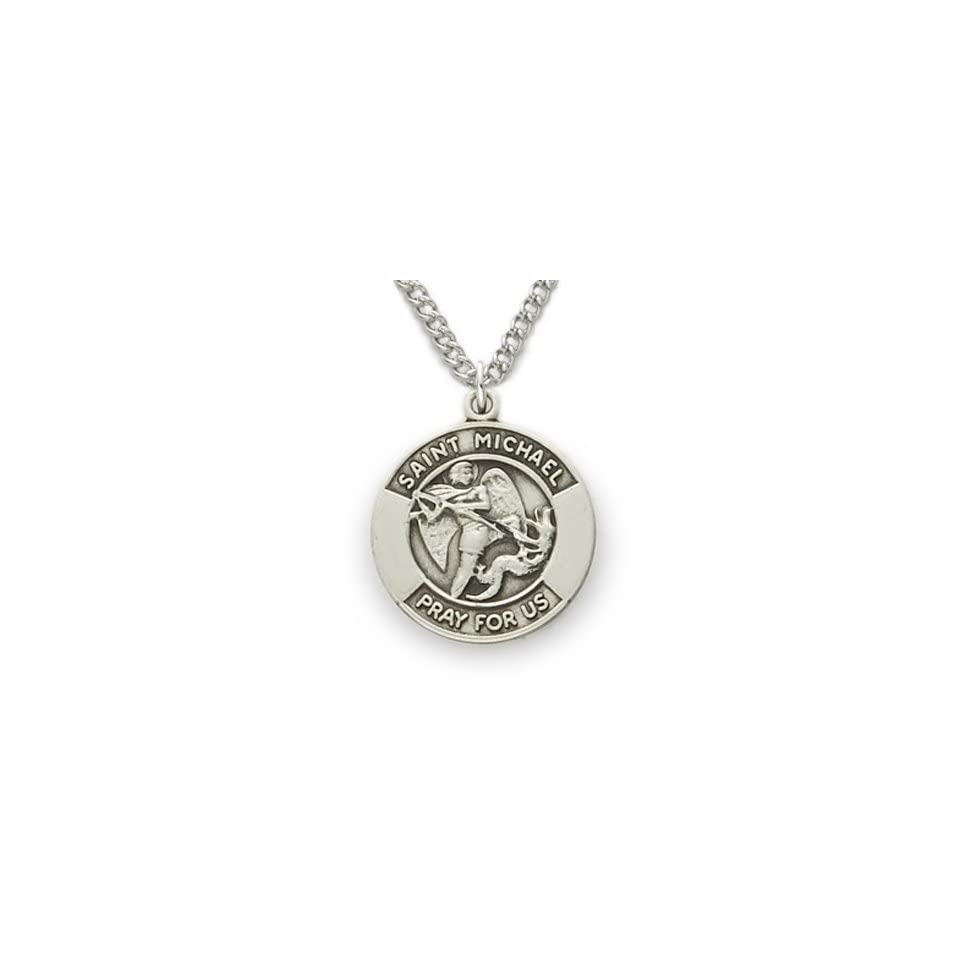 """St. Michael the Archangel Protection, Patron of Police Officers, .925 Sterling Silver Engraved Medal Pendant Christian Jewelry Patron Patron Saint Medal Pendant Catholic Gift Boxed w/Chain Necklace 18"""" Length Gift Boxed Jewelry"""