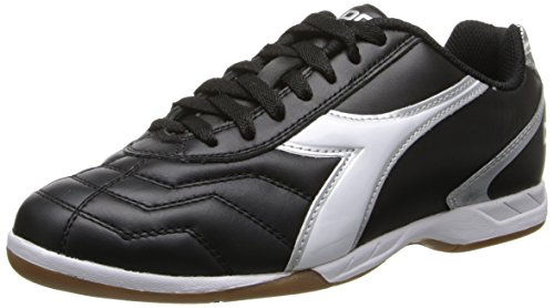 Diadora Men's Capitano LT Indoor Soccer Shoe, Black/White, 8.5 M US