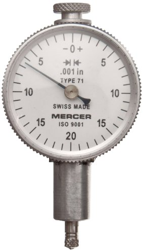 Brown & Sharpe Tesa 01416014 Mercer Dial Gauge Indicator, M2.5 Thread, 8Mm Stem Dia., White Dial, 0-25-50 Reading, 40Mm Dial Dia., 0-5Mm Range, 0.01Mm Graduation, +/-0.012Mm Accuracy back-437029