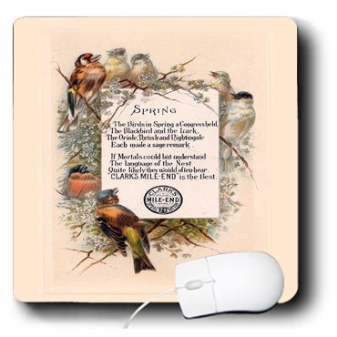 Mp_100991_1 Florene Victorian - Cute Victorian Sign With Birds Advertising Thread - Mouse Pads