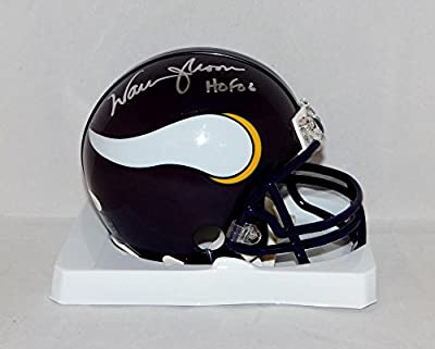 Warren Moon Autographed Minnesota Vikings Mini Helmet W/ HOF- JSA Witnessed Auth