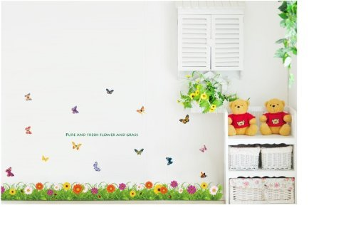 Kappier Refreshing Colorful Daisy Flowers and Butterflies Over Green Grass Wall Decal