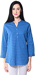 Lyla Women's Regular Fit Shirt (LWSA874_M, Blue & Yellow, M)