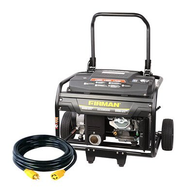 Firman Generators ECO8000 15 HP Remote Start Gas Powered Portable Generator with Wheel Kit and 25Ft. Cord
