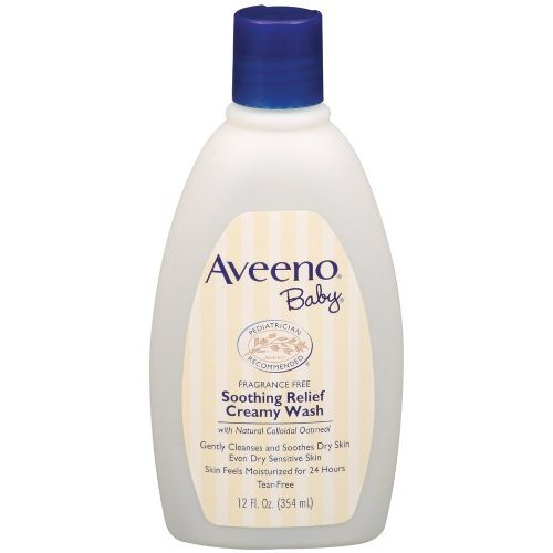 Aveeno Baby Soothing Relief Cream Wash, 12 Fluid Ounce Natural Soap Shampo