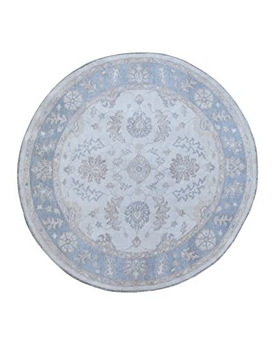 Kalaty One-of-a-Kind Pak Round Rug, Grey/Blue, 5′ 9″ x 6′