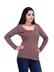 NIROSHA Brown Viscose Top for Women