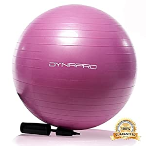 Pink Exercise Ball, GYM QUALITY by DynaPro Direct, More colors available