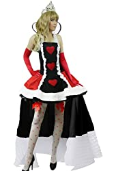 Yummy Bee Queen of Hearts Cosplay Costume + Stockings + Crown Womens Size 2-18