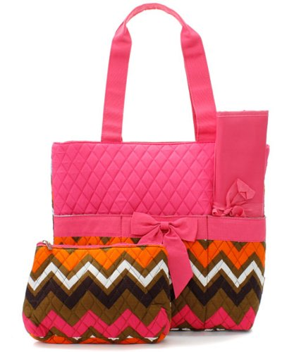 Quilted Hot Pink Multicolor Chevron Print Monogrammable 3 Piece Diaper Bag With Changing Pad Tote Bag - 1