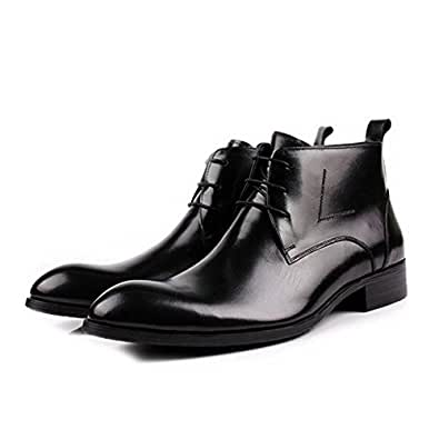 Leather Lace up Casual Business Boots Chukka Boots Mens Dress Shoes Classic Oxford Shoes (6.5, black)