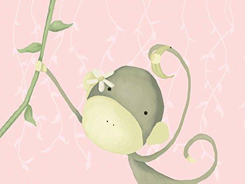 Oopsy daisy dangle monkey powder pink stretched canvas wall art by meghann o'hara, 24 by 18-inch