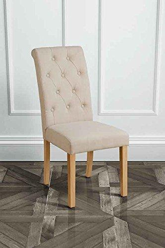 MY-Furniture Sedia GENOA BEIGE imbottita per tavolo da pranzo con schienale a bottoni leggermente inclinato e gambe in legno naturale