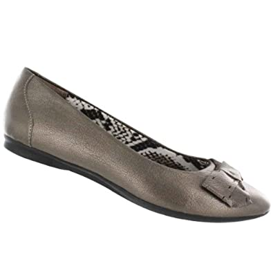Clarks Women's Poem Court Flat Slip On Dress Shoe Pewter 6.5 M US
