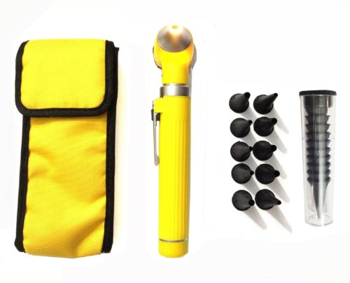 Zzzrt Pro Physician 2.5V Halogen Ligh Fiber Optic Otoscope Mini Pocket Medical Ent Diagnostic Set Yellow + Free Protective Cover