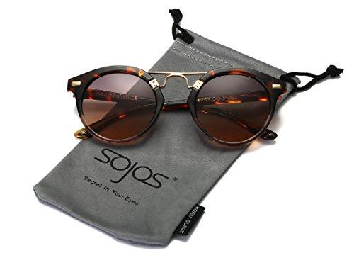 sojos Premium plastica cornice con ponte rotonda in metallo con doppio colore lenti a specchio occhiali da sole Donna sj2023 C4 Demi Frame/Brown Lens