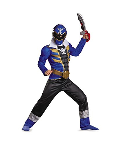 Blue Power Ranger Super Megaforce Muscle Boys Superhero Costume