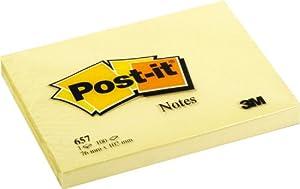 Post-it 657 Haftnotiz Notes 76 x 102 mm, 70 g/qm, 100 Blatt, 1 Block, gelb