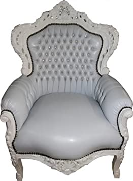 Baroque Armchair King white / white leather look with bling bling rhinestones - Unikat