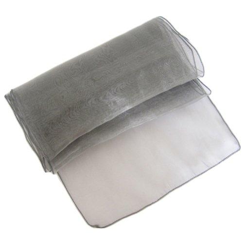 OurWarm Grey Dark Silver Organza Table Runner