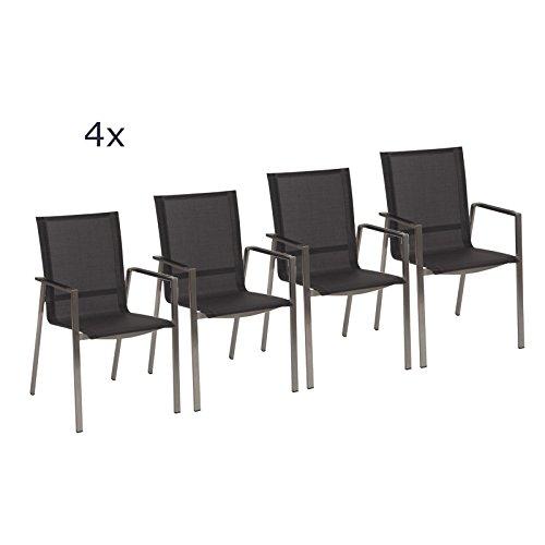 Stern Gartenmöbel Set Boston 4-teilig Stapelsessel aus Edelstahl mit Aluminiumrmlehnen in Silber-Grau günstig bestellen