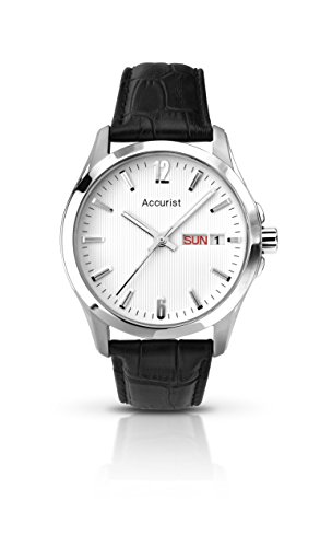 Accurist-Mens-Quartz-Watch-with-White-Dial-Analogue-Display-and-Black-Leather-Strap-Ms987W