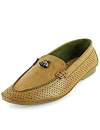 DeVEE Goose Belleiber Mens Pointy Toed Flat Tan Slip On Loafer