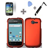 Best Rubberized Solid Orange Color Snap on Hard Case Skin Cover Faceplate with Screen Protector, Case Opener and Stylus Pen for Huawei Ascend Y / M866 – StraightTalk Reviews