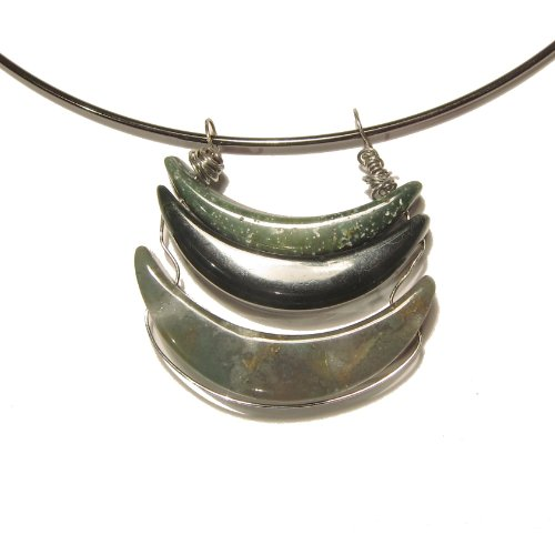 Moss Agate Necklace 03 Choker Green Moon Crystal Healing Reiki Gemstone 16