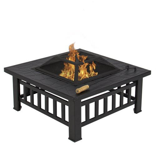 Best-Choice-Products-Outdoor-32-Metal-Firepit-Backyard-Patio-Garden-Square-Stove-Fire-Pit-With-Cover