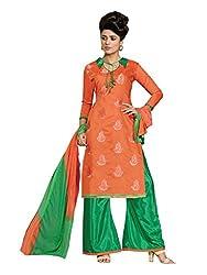 SR Women's Cotton Unstitched Dress Material (orange Green Bottom duptta)